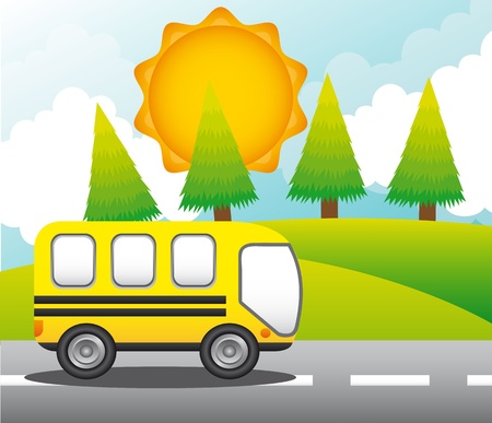 bus over street with trees and mountains.   Stock Vector - 13439071