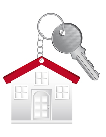 home owner: key chain with house and key isolated over white background.