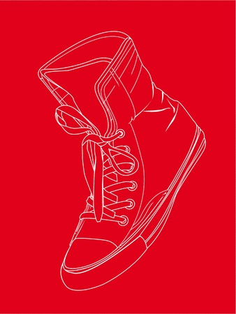plimsolls: silhouette sneaker over red background.