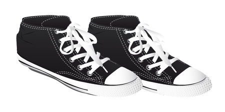 plimsolls: black sneakers isolated over white background.