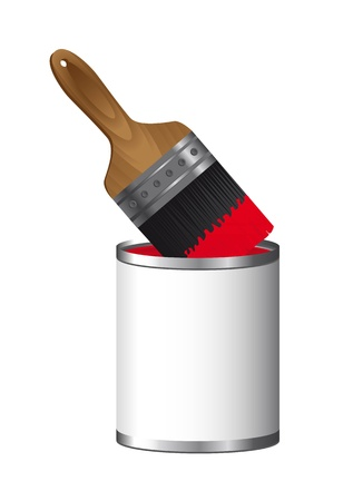 brush paint with paint bottle isolated over white background. Stock Vector - 13439253