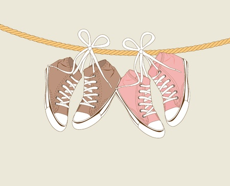 plimsolls: cute sneakers hanging of a rope over beige background. Illustration