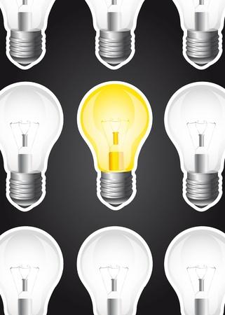 light bulbs over black background. Stock Vector - 13439578