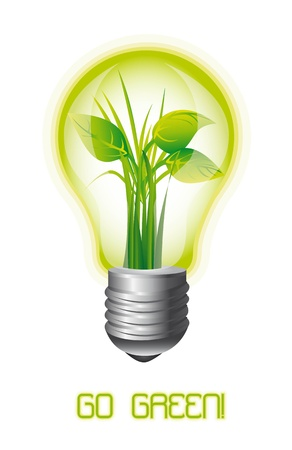 off white: ecology light bulb with leaves, go green. vector illustration Illustration
