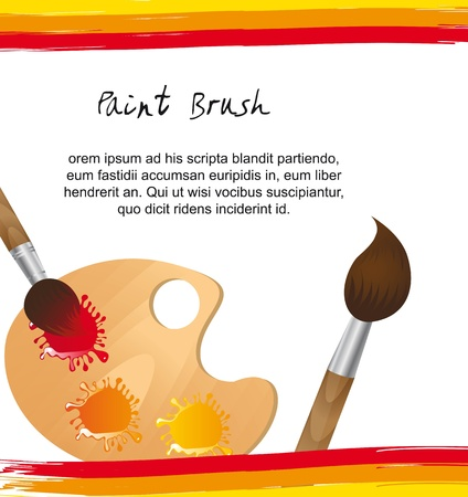 paint brush with wooden palette with space with copy. vector