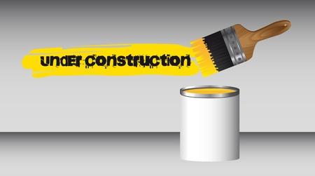 constrution: paint brush with bottle, under constrution.  Illustration