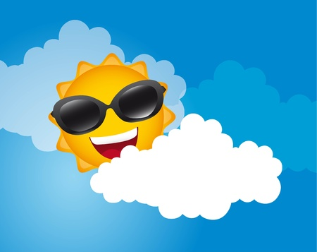 sizzle: sun with sunglasses over sky with cloud.  Illustration
