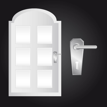 door and door lock over black background.  Vector