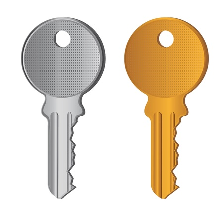 metal doors: silver and gold keys