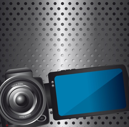 video camera over silver background with circles. vector  illustration Vector