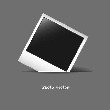 fotoalbum vintage: Fotorahmen �ber grauem Hintergrund. Vektor-Illustration