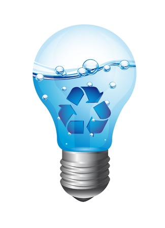 light bulb with recycle bulb isolated over white background. vector Stock Vector - 13600027