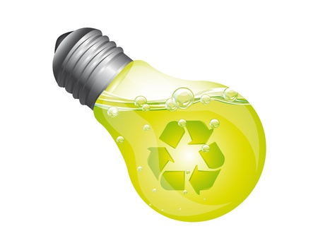 ligth bulb with recycle sign and green liquid isolated. vector illustration Stock Vector - 13600007