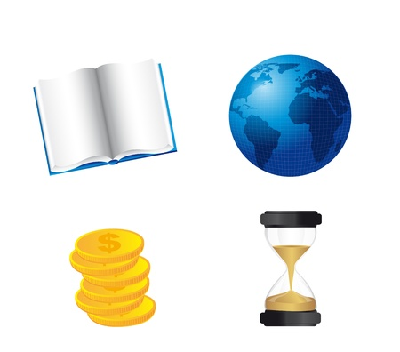 book, world with coins and hourglass isolated over white background. vector Vector