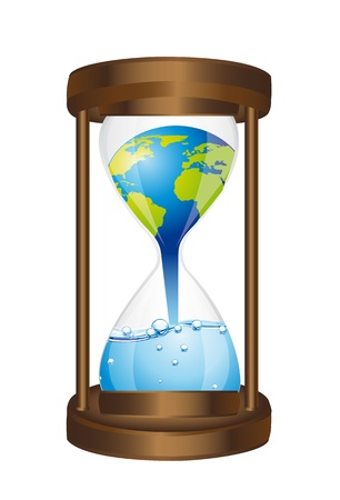 hourglass: hourglass with concept of global warming isolated. vector illustration Illustration