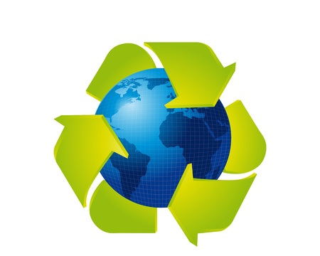recycle sign with blue earth isolated over white background. vector Vector