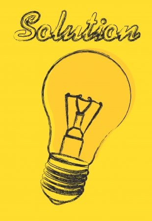 light bulb with solution text over yellow background. vector Vector