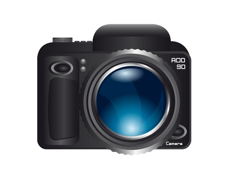 camera with blue zoom lens isolated over white background. vector Vector