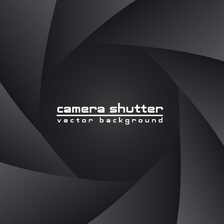 shutter aperture: black camera shutter with space for copy, background. vector