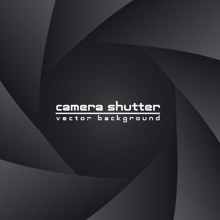 camera lens: zwarte sluiter van de camera met ruimte voor exemplaar, achtergrond. vector