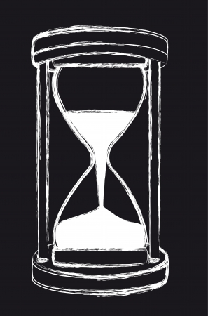 hourglass: black and white grunge hourglass, background. vector illustration Illustration