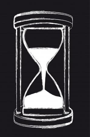 Sanduhr schwarz weiß  Schwarz-Weiß-Grunge-Sanduhr, Hintergrund. Vektor-Illustration ...