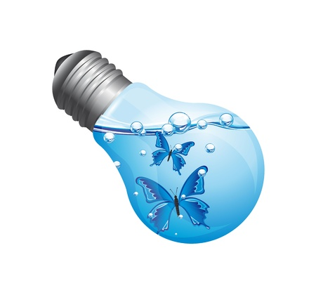 blue bulb: light bulb with water and butterflies isolated over white background. vector illustration