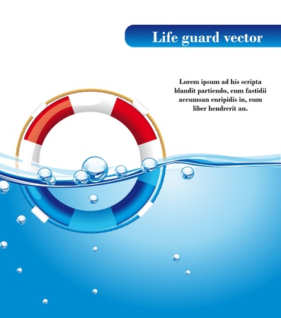 life guard: life guard over water with space for copy. vector illustration