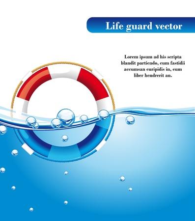 sobreviviente: protegen la vida humana sobre el agua con espacio para la copia. ilustraci�n vectorial Vectores