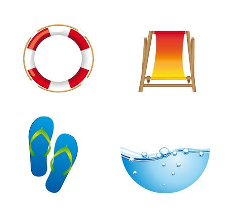 summer icons float, flip flops with chair and water isolated. vector Stock Vector - 13600037