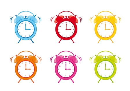 cute clock alarm isolated over white background. vector illustration Stock Vector - 13599558