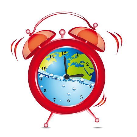 red clock alarm with water and planet over white background. vector