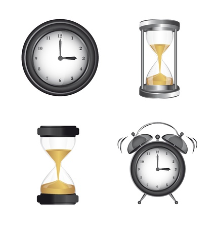 clock alarm and hourglass icons over white background. vector Stock Vector - 13599722