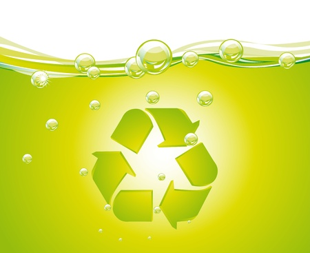 recycle sign over green water with bubbles, background. vector Vector