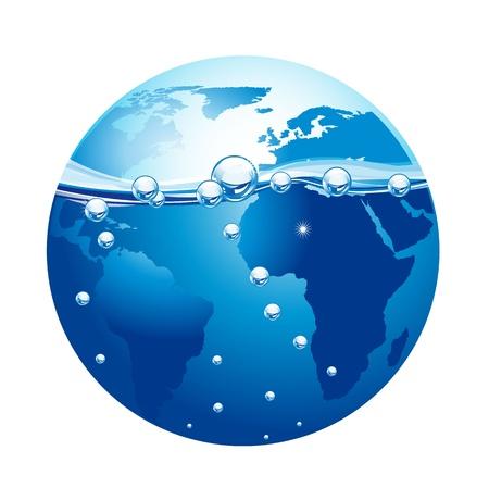 flowing water: planeta azul con agua y burbujas aisladas sobre fondo blanco. vector Vectores