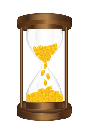 hourglass with gold coins isolated over white background. vector Stock Vector - 13600125