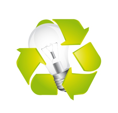 recycle sign with light bulb isolated over white background. vector Stock Vector - 13599570