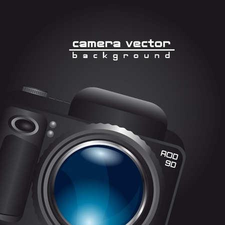 camera with blue lens with space for copy over black background. vector Stock Vector - 13599617