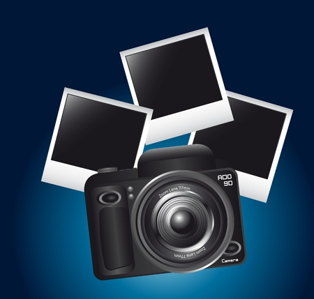 camera and photos frame over blue background. vector illustration Stock Vector - 13599623