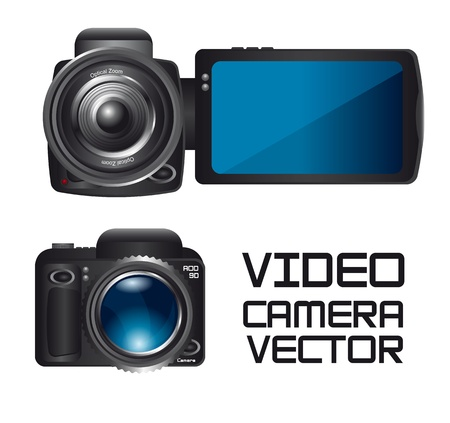 video and camera isolated over white background. vector Vector
