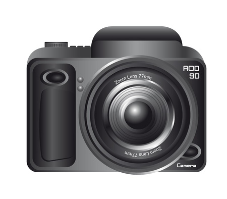 black camera isolated over white background. vector illustration Stock Vector - 13599592