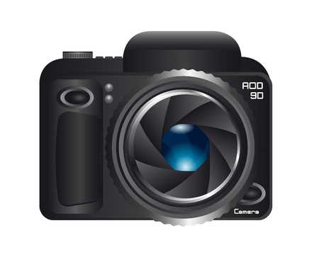 black camera with shutter and blue lens isolated. vector illustration Vector