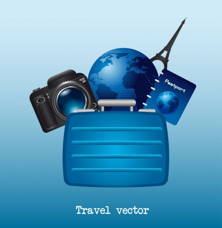 suit case, camera and world over blue background. vector Stock Vector - 13600113