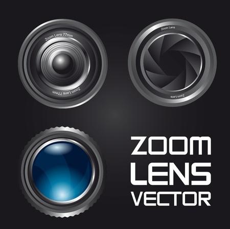 serrande: obiettivo zoom su sfondo nero. illustrazione vettoriale
