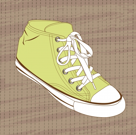 green sneakers over brown background, vintage. vector Vector