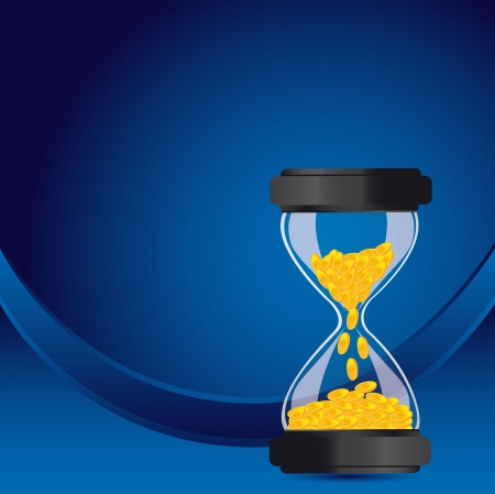 hourglass with coins over blue background. vector illustration Stock Vector - 13600126