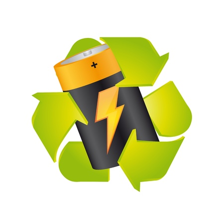battery with recycle sign isolated over white background. vector Stock Vector - 13599567