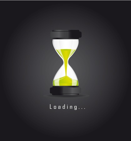 hourglass over blac background, loading. vector illustration Stock Vector - 13599599