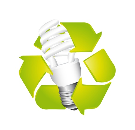 light bulb with recycle sign isolated over white background. vector Vector