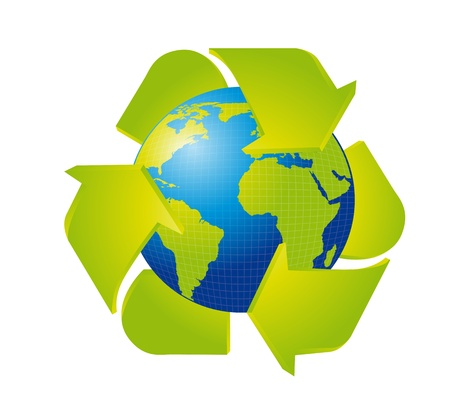 earth with recycle sign isolated over white background. vector Stock Vector - 13600093